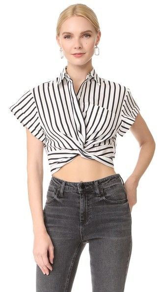 short cut black and white top with cap sleeves and gray jeans