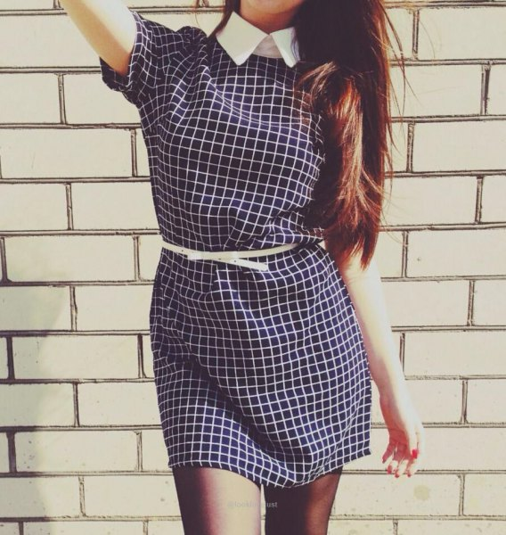 black and white checked short-sleeved mini dress with belt and shirt collar