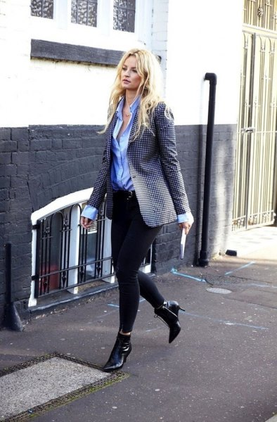 black and white checked blazer with light blue shirt and leather boots
