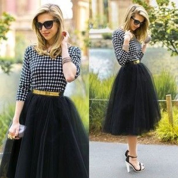 black and white checked blouse with black tutu skirt and gold belt