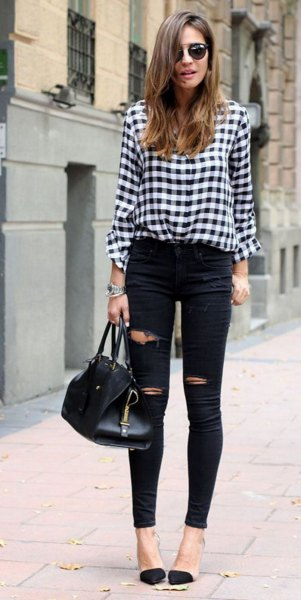 black and white checked shirt with buttons and ripped skinny jeans