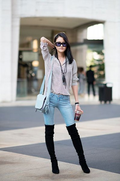 black and white checked shirt with buttons and overknee suede boots