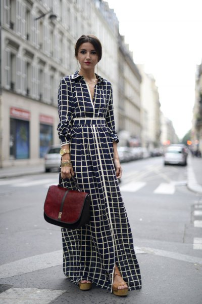black and white checked maxi dress with a ruched waist