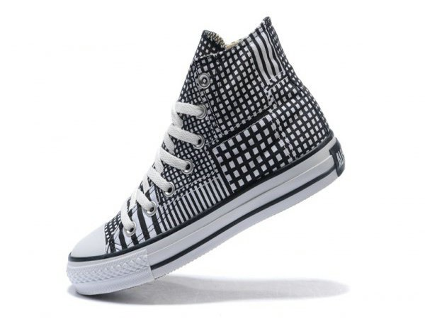 black and white checked high-top canvas sneakers