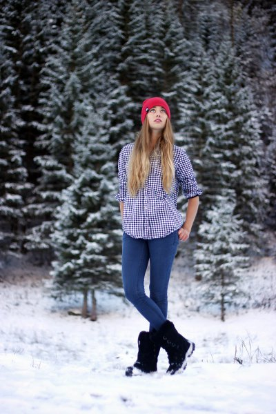 black and white checked hiking shirt with snowshoes