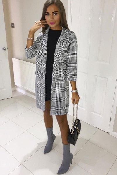 black and white checked long blazer with mini shift dress
