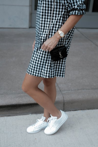black and white checkered mini shift dress with low sneakers