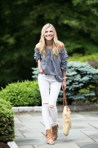 black and white checked from the top of the shoulder with strappy sandals