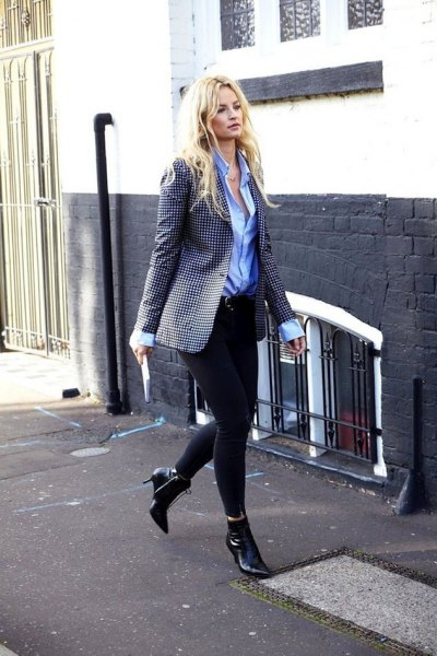 `black and white checked oversized blazer with blue shirt with buttons