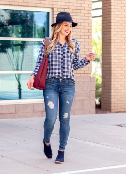 black and white checked shirt with felt hat and dark blue suede boots