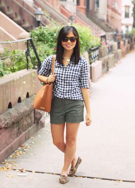 black and white checked shirt with gray mini shorts