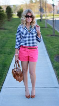 black and white checked shirt with pink shorts