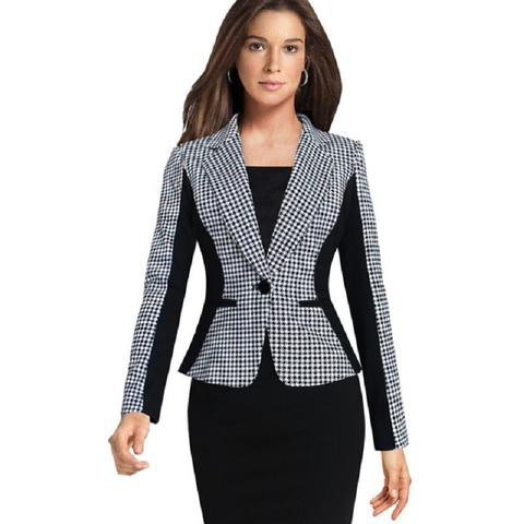 black and white checked slim fit blazer with figure-hugging midi dress