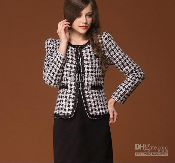 black and white checked tweed coat with pencil skirt