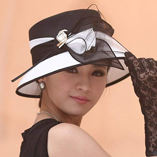 Black and white chiffon bucket church hat with armored dress