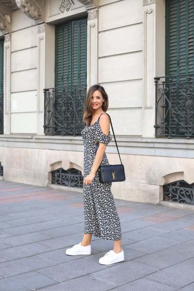 Black and white chiffon maxi dress with cold shoulder and platform sneakers