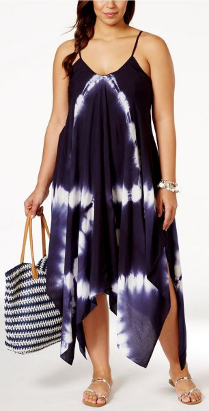 black and white chiffon maxi airy strap dress with silver sandals