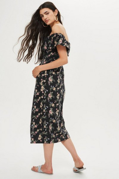 Midi bardot dress with floral print in black and white