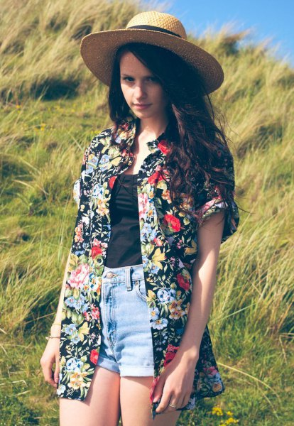 floral and floral oversized Hawaiian shirt and straw hat