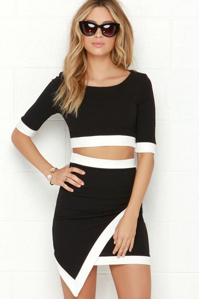 two-piece mini wrap dress with black sleeves and half sleeves