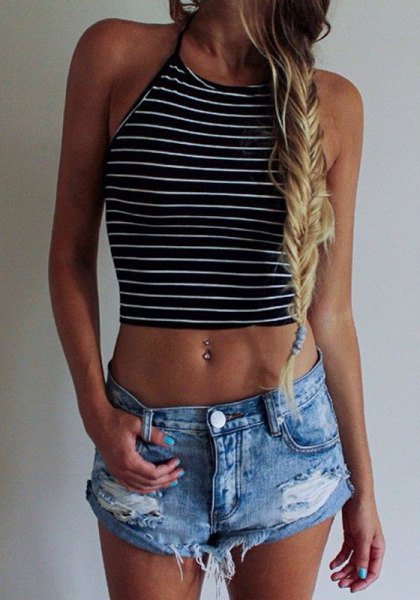horizontally striped harvest tank in black and white with ripped denim shorts