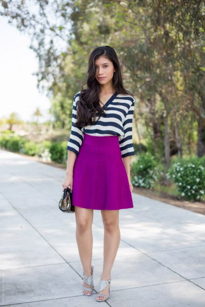 horizontally striped black and white top with purple skater skirt