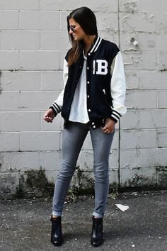 black and white jacket with white T-shirt and gray skinny jeans with cuffs