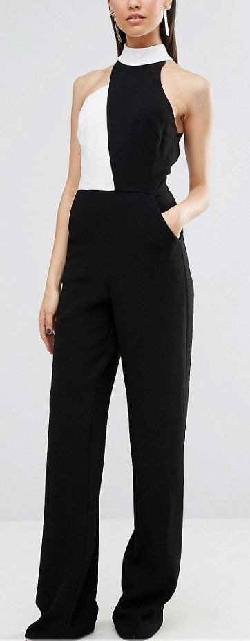 Black and white jumpsuit contrast detail