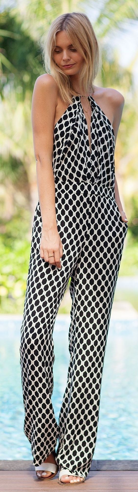 Black and white overall halter