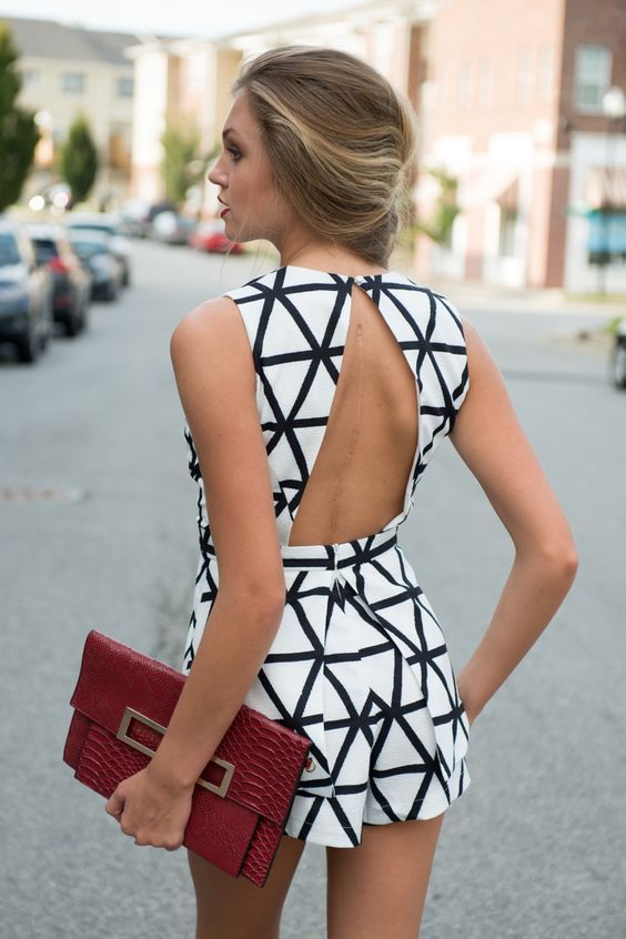 Black and white jumpsuit open back
