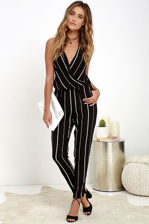Bold School Black and White Striped Jumpsuit | Striped jumpsuit .