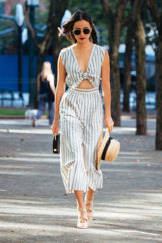 black and white jumpsuit striped