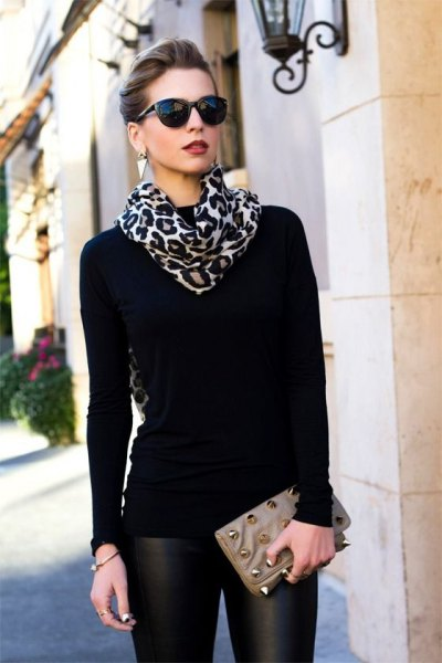 black and white scarf with leopard print, sweater and leather pants