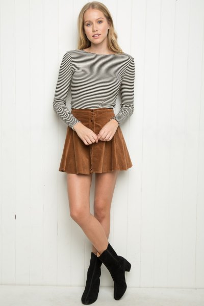 black and white striped t-shirt skater skirt with long sleeves