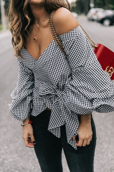 black and white checked belt with off-the-shoulder blouse