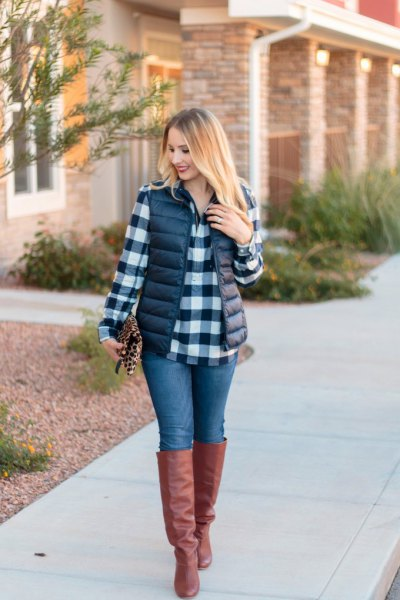 black and white checked boyfriend shirt with puffer vest