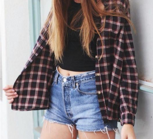 black and white checked shirt with buttons, crop top and denim shorts