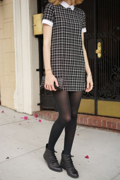black and white checked collar dress with stockings and leather ankle boots