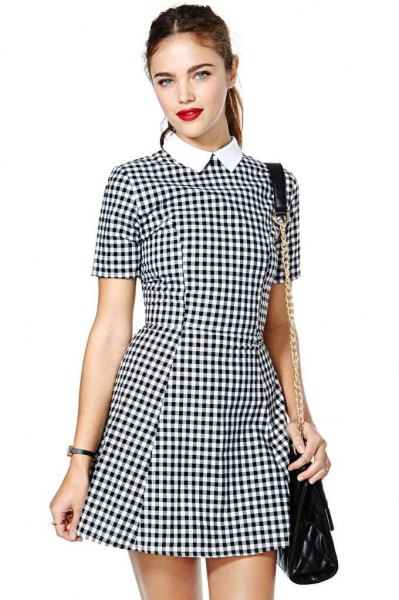 black and white checked fit and flare mini dress