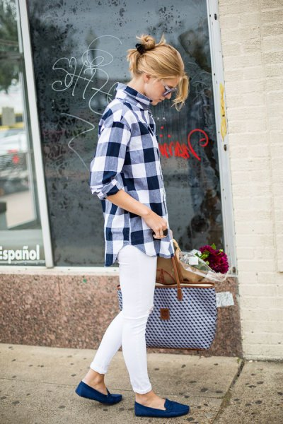 black and white checked boyfriend shirt with white jeans and royal blue slippers