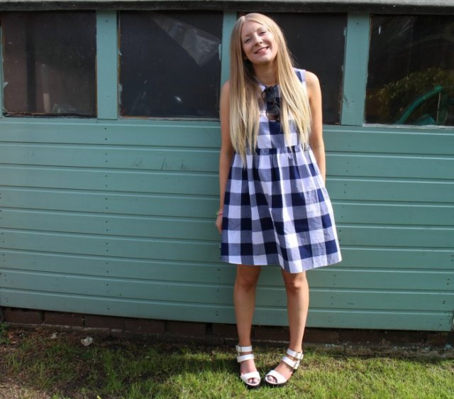 black and white checked linen dress