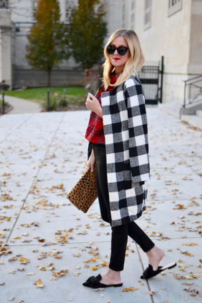 black and white checked longline wool coat with clutch with leopard print
