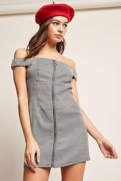 black and white checked dress with zipper in the front