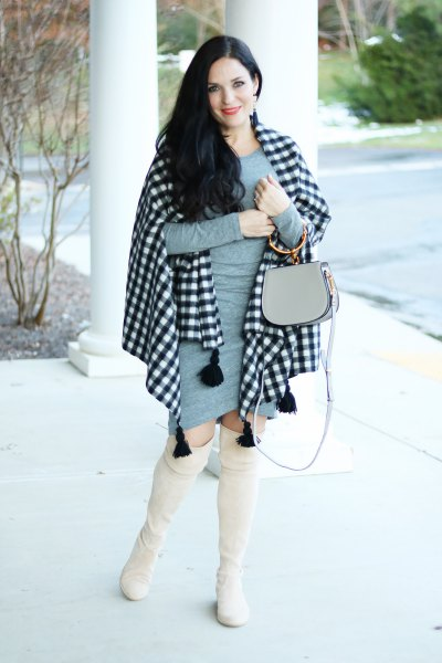 black and white checked scarf gray figure-hugging mini dress