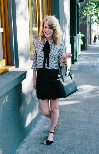 black and white checked shirt with scalloped hem mini skirt