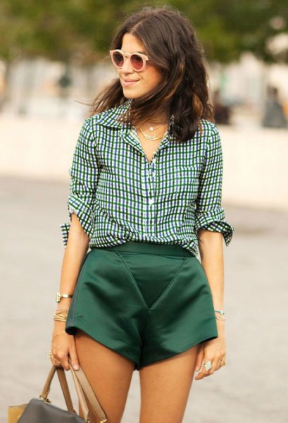 black and white checked shirt with flowing silk mini shorts
