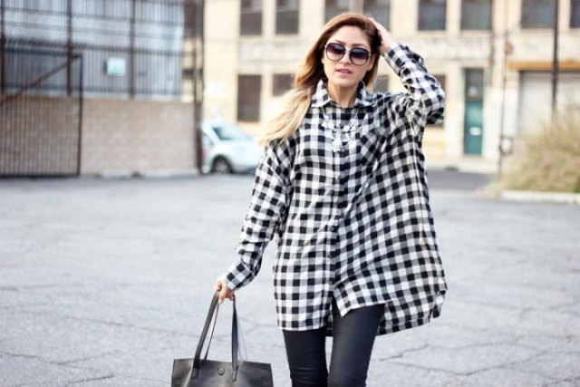 black and white checked tunic leather gaiters