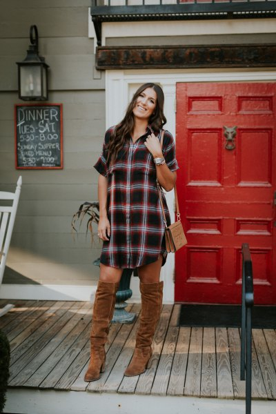 black and white checked tunic with camel over the knee boots