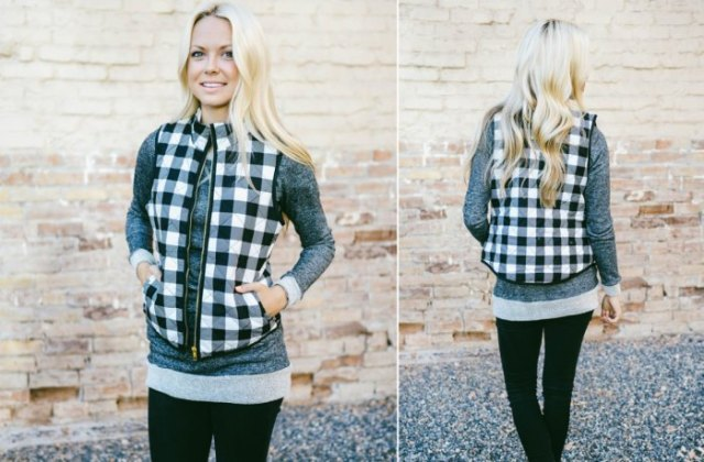 black and white checked vest over gray long sweater gaiters