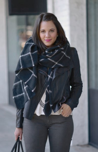 black and white checked wool scarf with gray skinny jeans